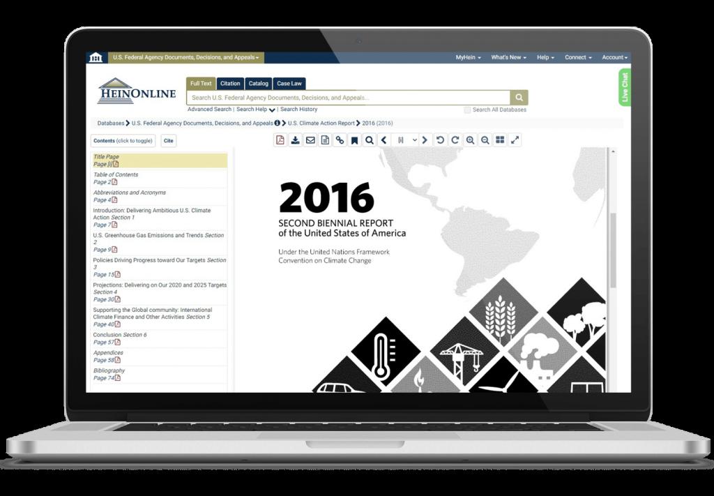 U.S. federal agencies documents in HeinOnline on laptop