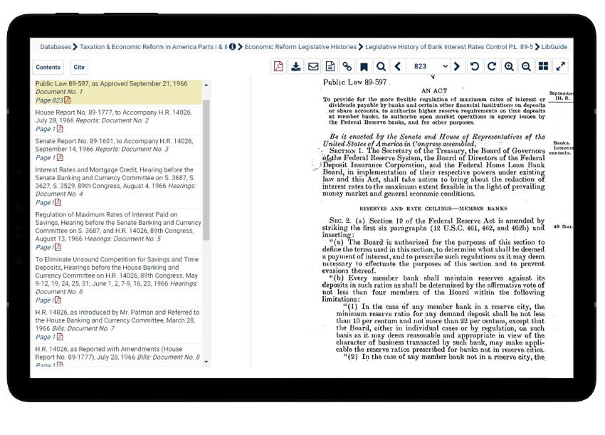 Legislative histories in HeinOnline's Taxation & Economic Reform in America