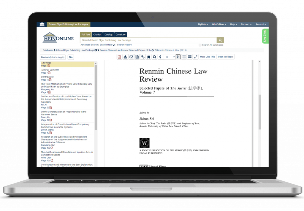 Edward Elgar's Renmin Chinese Law Review shown on a Laptop