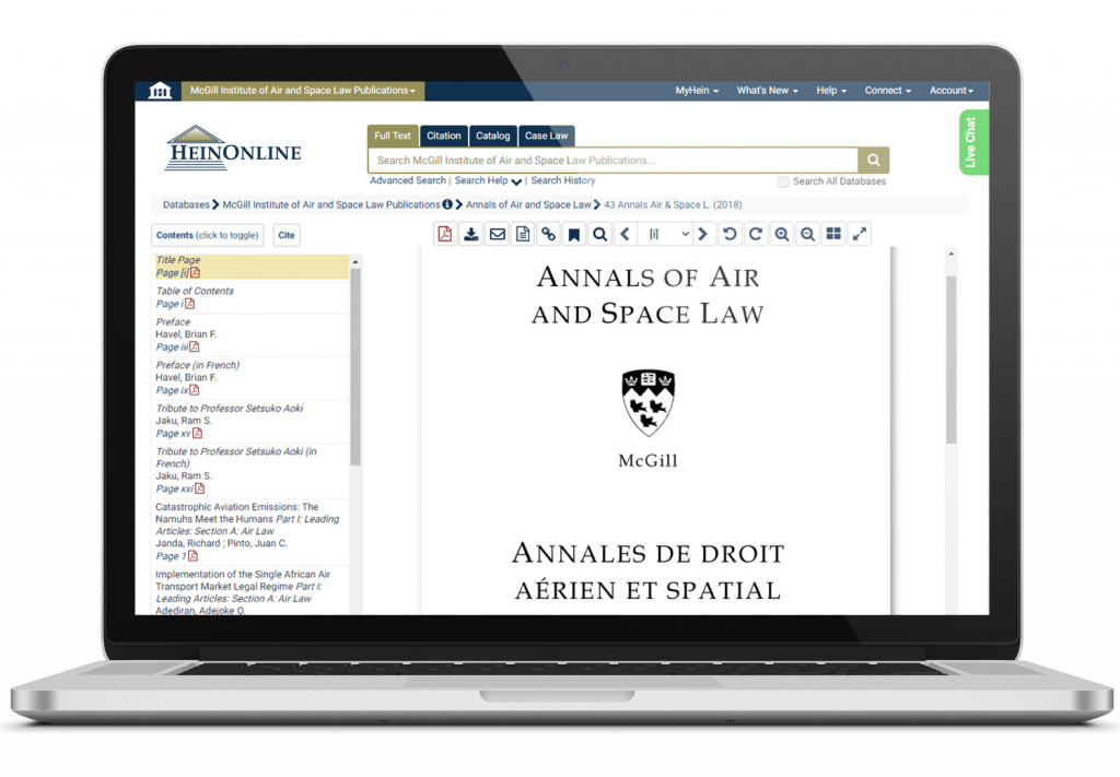 McGill Annals of Air and Space Law showcased on a laptop