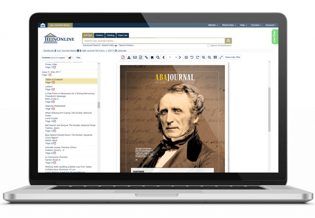 HeinOnline database on laptop