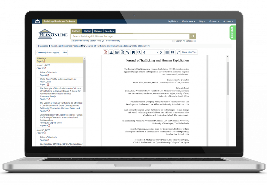 Paris Legal Publishers journal featured on a laptop