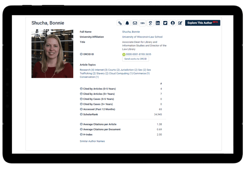 Author profile page interface in HeinOnline