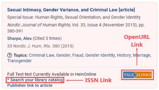 Catalog linking on HeinOnline interface