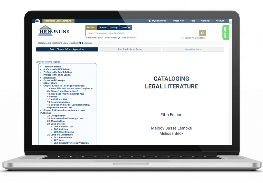 Cataloging Legal Literature 5th edition displayed on a laptop