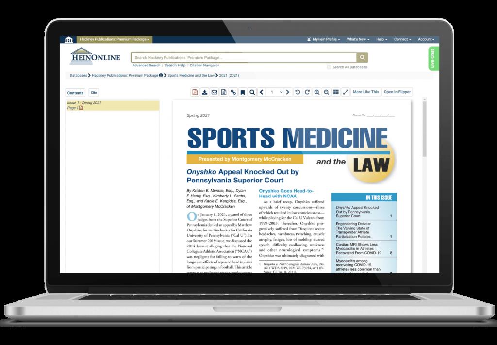 Hackney Publications, Sports Medicine Journal shown on a laptop