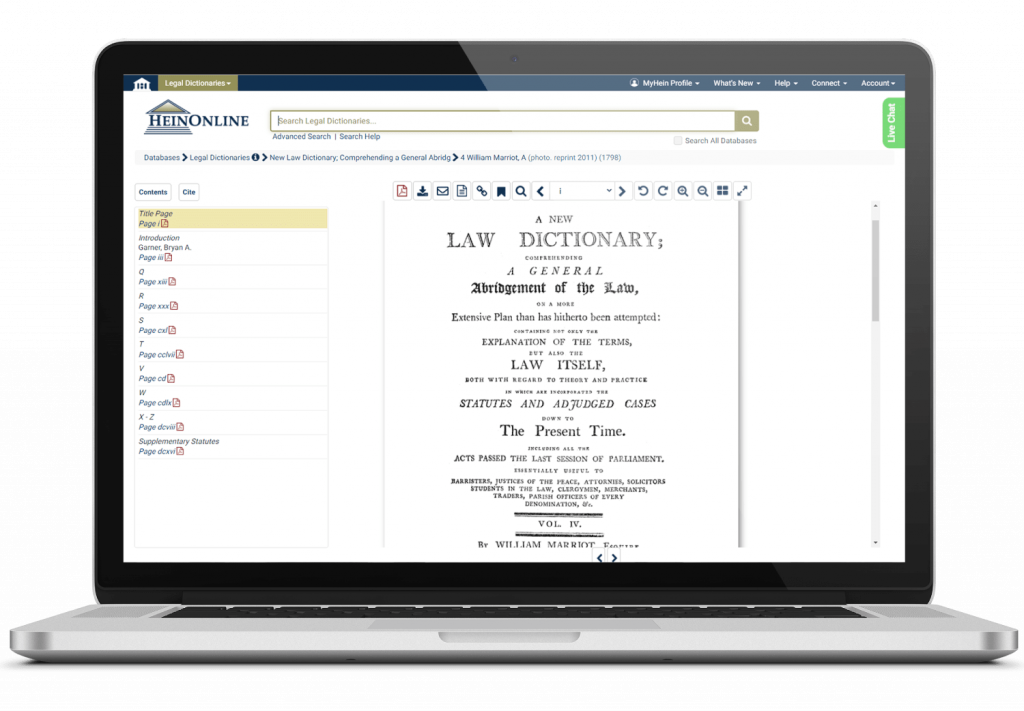 Laptop featuring a Legal Dictionary title page