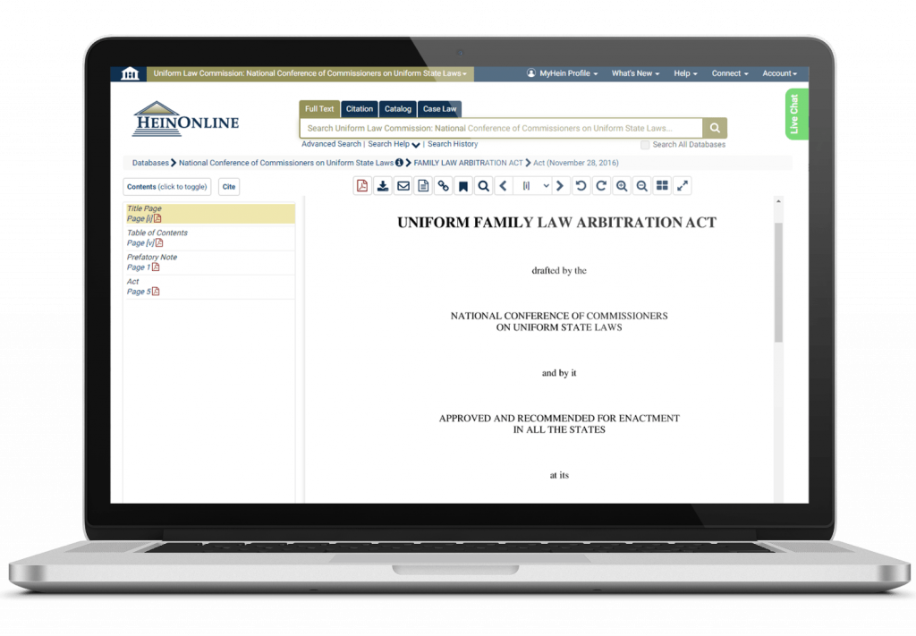 Laptop displaying Uniform Family Law, a NCCUSL document