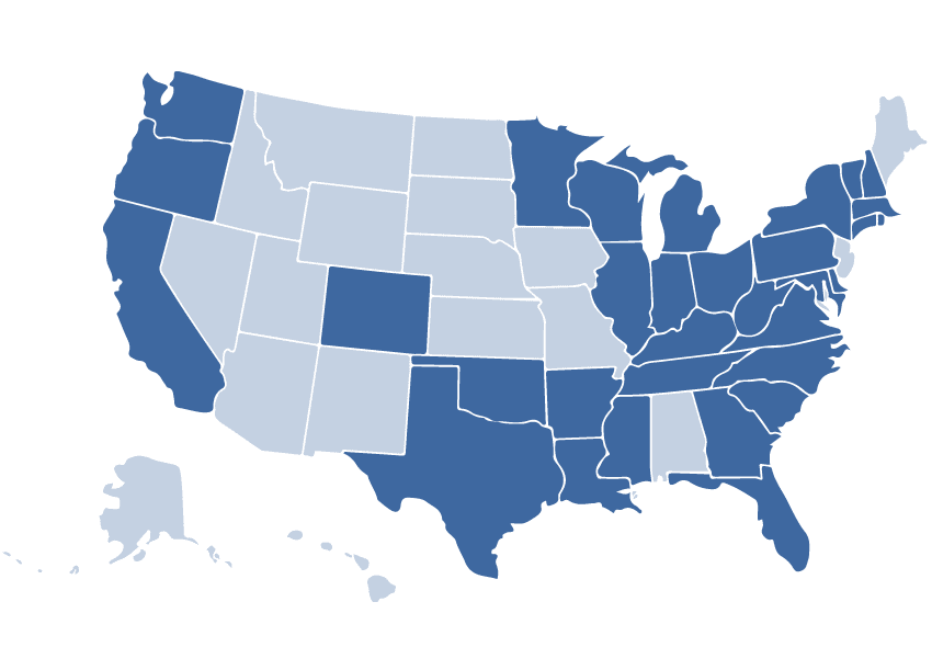 Map of United States showing the status of the Session Laws Indexing project