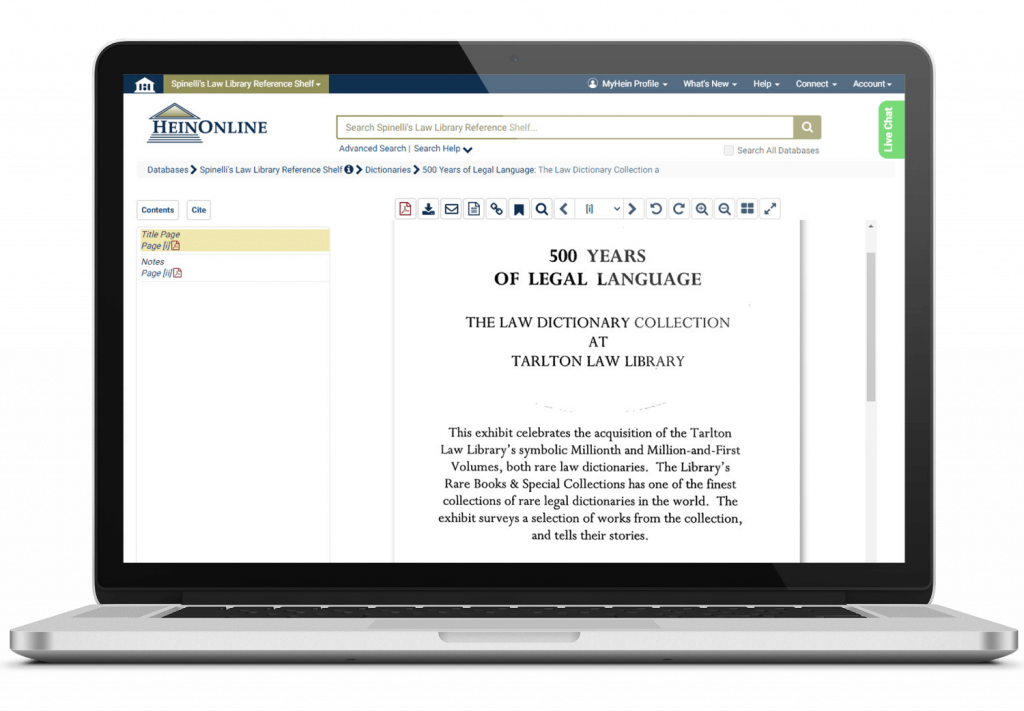 Legal Dictionary from Spinelli's Law Library featured on a laptop