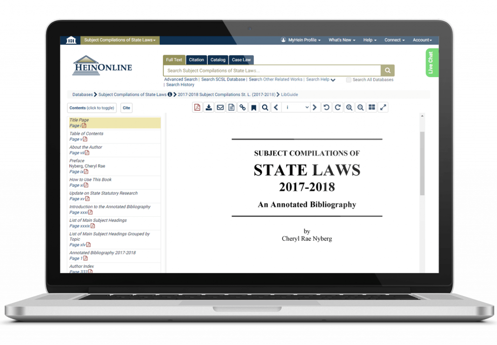 Subject Compilations of State Laws, 2017-2018 shown on a laptop