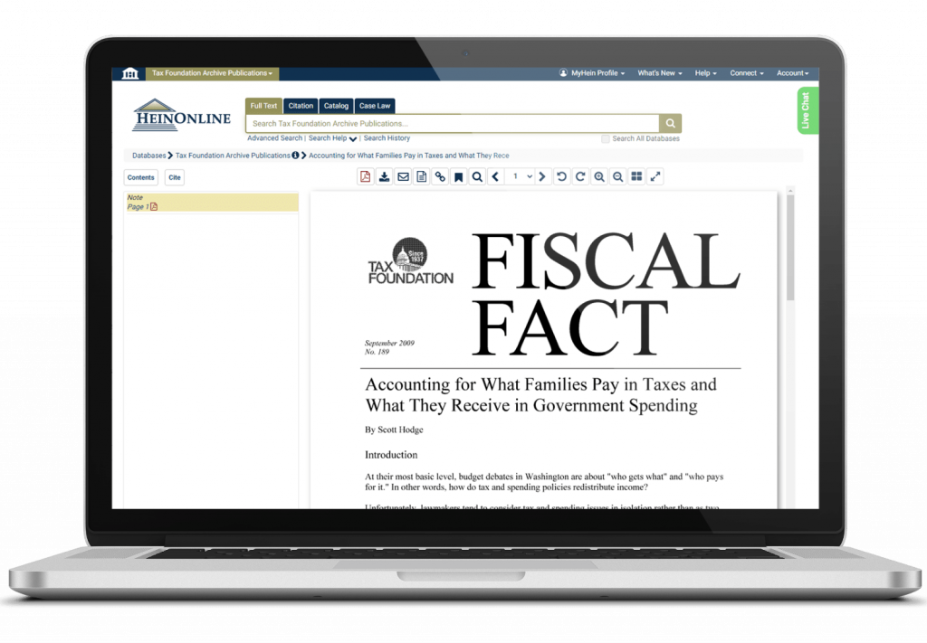 Tax Foundations Publication shown on a laptop