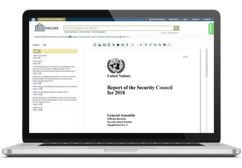 United Nations Document on laptop