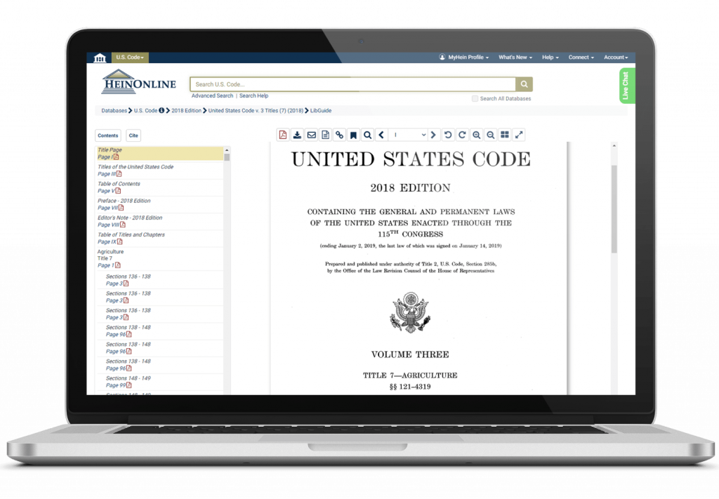 U.S. Code 2018 Edition shown on a laptop