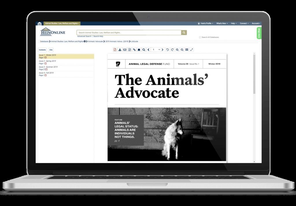 Laptop showing HeinOnline's Animal Studies database interface