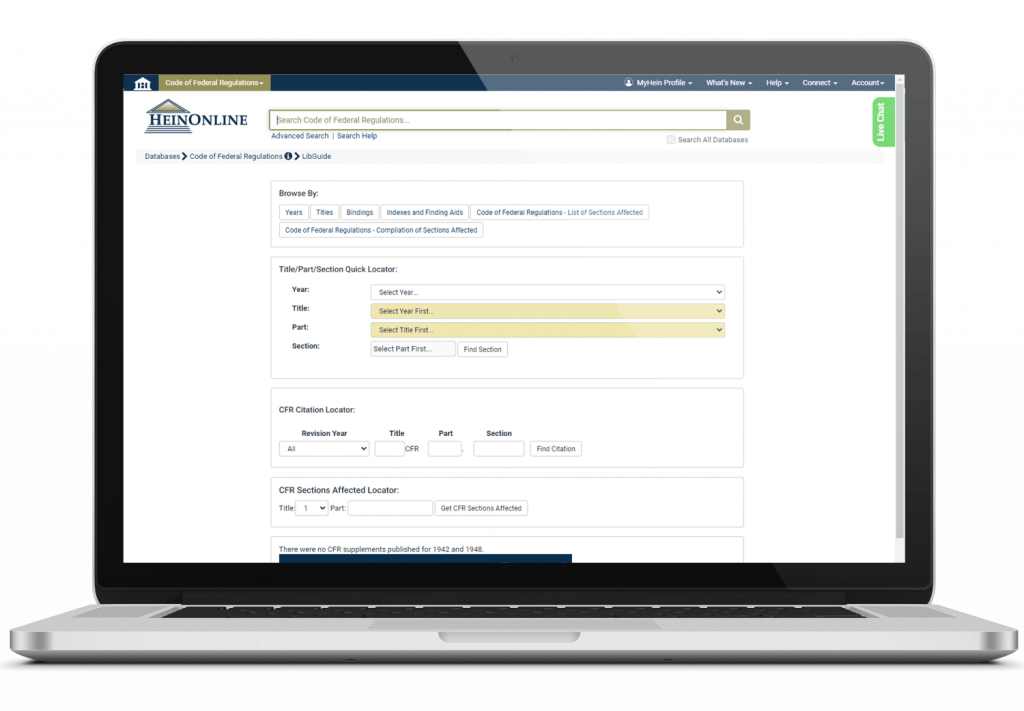Browse options in HeinOnline's Code of Federal Regulations