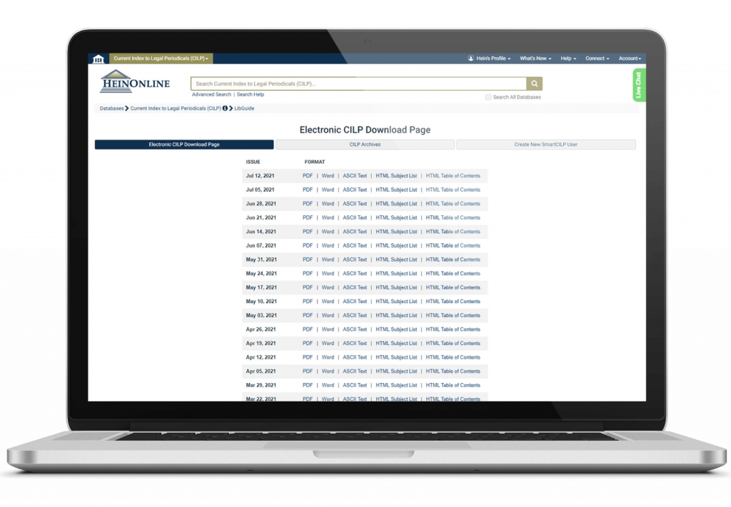 CILP interface in HeinOnline on laptop