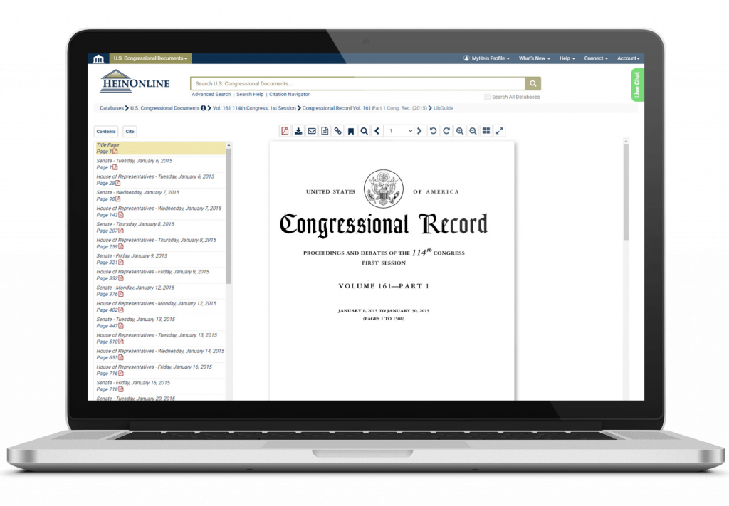 U.S. Congressional Documents interface on laptop