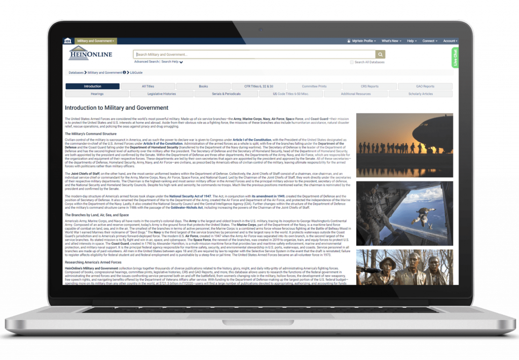 Military and Government Database in HeinOnline on Laptop