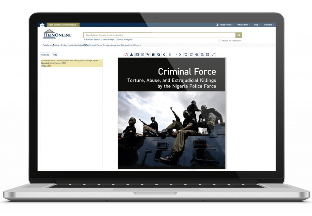 Open Society Justice Initiative title in HeinOnline on laptop