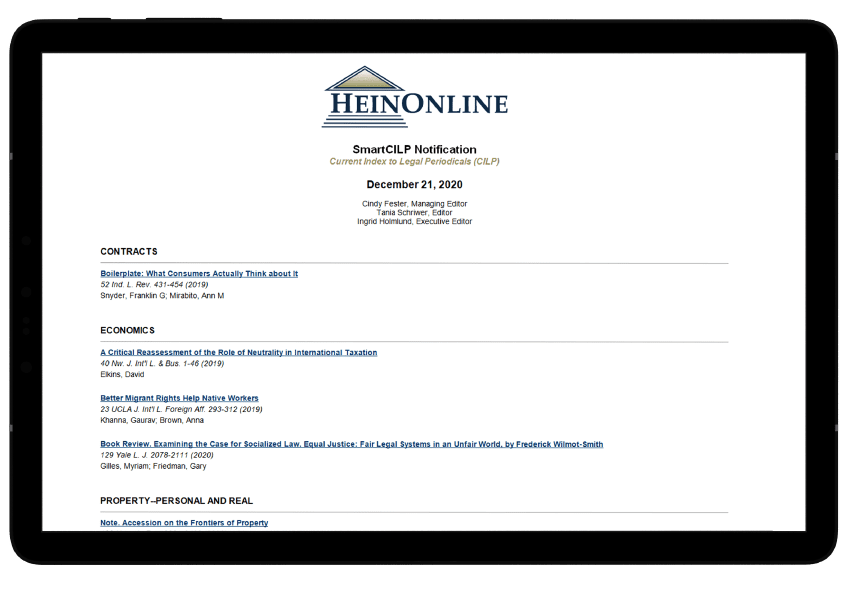 SmartCILP notification from HeinOnline