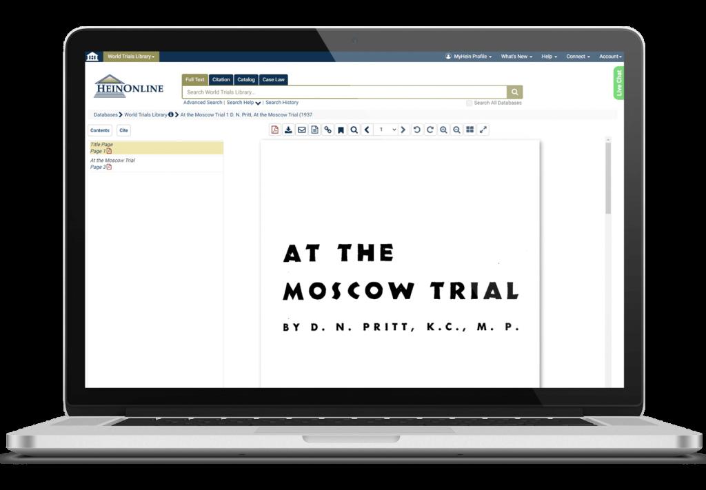 World trials database in HeinOnline on laptop